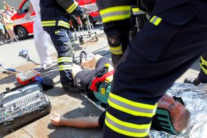 EMTs at accident with patient