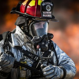 fire fighter with resperator